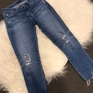 AG Cropped Frayed Jeans